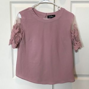 Lulu's Lisa Marie Mauve Pink Embroidered Top